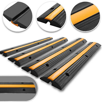4 Pack of 1 Channel Rubber Cable Protector Ramps Heavy Duty Traffic Speed Bumps