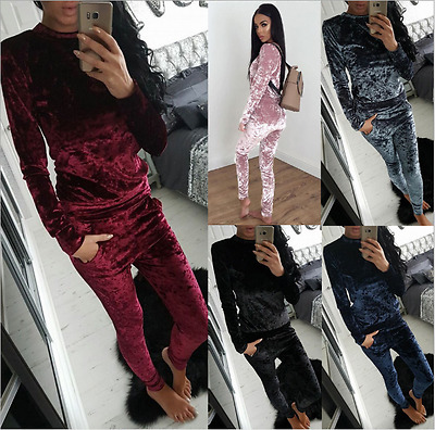 *Leisure Velvet Sportswear Tracksuit Women Long Sleeve Tops Pants Trousers Suit