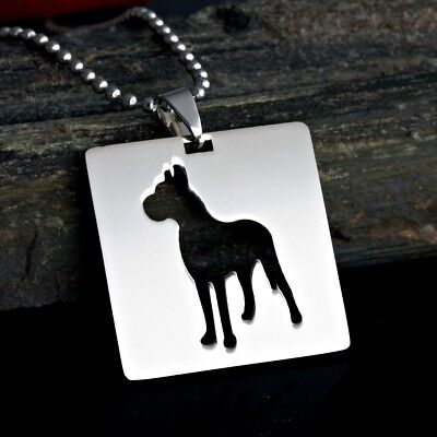 Square Shape Great Dane Dogue Allemand German Mastiff Pet Dog Tag Charm Pendant