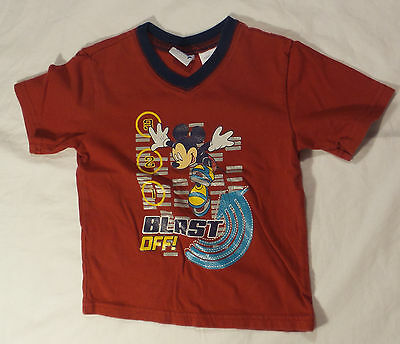 Disney Baby Boys Red Mickey Mouse 3 2 1 Blast Off! short sleeved T-shirt 2T