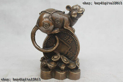 """7""""Chinese Folk Pure Bronze excellent Lucky Money drawing mouse Statue"""