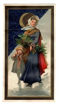 VICTORIAN CHRISTMAS CARD Large LOUIS PRANG Lithograph MOON HOLLY MOTHER CHILD
