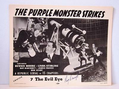 Set 1957rr THE PURPLE MONSTER STRIKES Ch 7 Lobby Cards TC & 2 Sign ROY BARCROFT