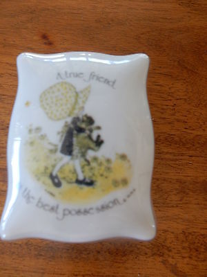 """Vintage Holly Hobbie Footed Rectangle Trinket Box """"A true friend is the best..."""