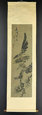JAPANESE HANGING SCROLL ART Painting  Asian antique  #E4008
