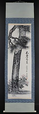 """JAPANESE HANGING SCROLL ART Painting """"Pinetree"""" Asian antique  #E4001"""