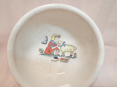 Vintage Little Bo Peep Child's Dish/Bowl w/Sheep/School Books