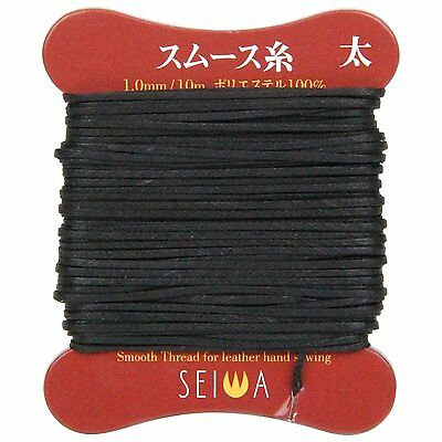 SEIWA Smooth thread Thick Black Polyester Leather Craft Tool New From Japan