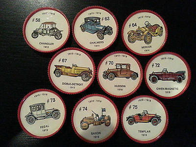 Jello 1960's Car Coins lot of 9 (1910-1919) #'s 58,63,64,67,70,72,73,74,and 75