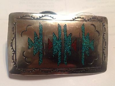 OLD PAWN Silver Turquoise Coral Chip Inlay Belt Buckle. Unsigned