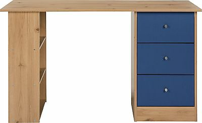 New Malibu 3 Drawer Desk - Blue on Pine.