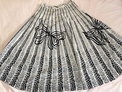 1950s Vintage Butterfly Novelty Print Cotton Sequin Skirt S