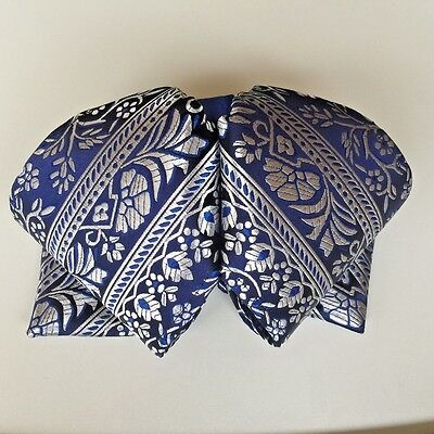 Hello Mariachi Mexican Charro and Mariachi Bow Tie Moño Blue Brocado Handmade