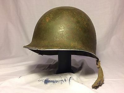 Fixed Bale WWII M1 Helmet And Liner