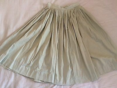 1950s Vintage Taupe Nude Button Back Cotton Skirt XS