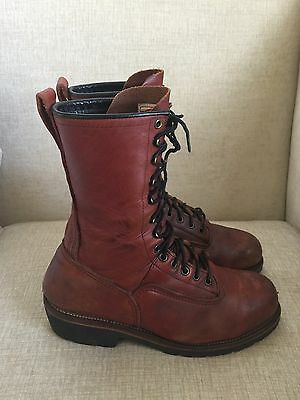 RED WING #2221 Lineman Logger Steel Toe Brown Leather Mens Work Boots Sz 10.5 D