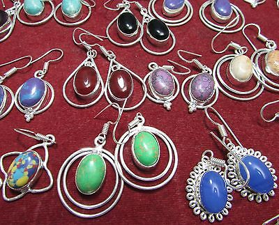 Huge Vintage Lot Sterling Silver Turquoise Old Pawn 50 Earrings pairs