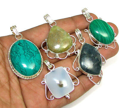 925 Mark Sterling Silver Wholesale Lot 5Pcs Turquoise & Mix Gemstone Pendants