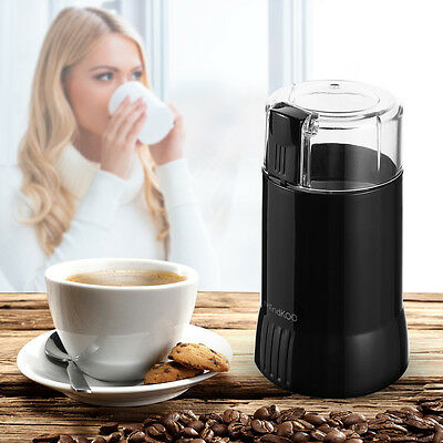 MINDKOO Electric Coffee Bean Grinder Mill Latte 200W Nut Spice Blender Black UK