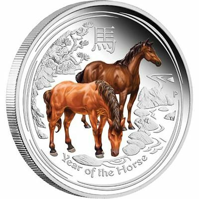 2014 YEAR OF THE HORSE 1/2oz Silver Proof Coloured Edition Coin