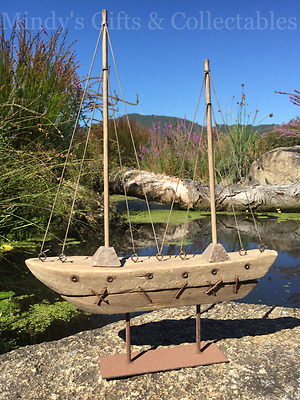 42cm High Carved Wooden & Metal Boat Ship Marine Nautical Statue Ornament Gift