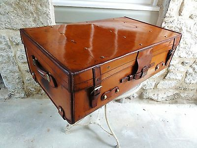 A Great Quality Vintage Leather Tan Trunk