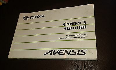 Toyota Avensis Owners Handbook. Dated 1997