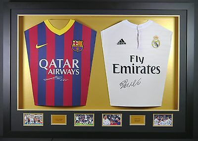 Messi and Ronaldo Double Signed Shirt 3d Framed Display +COA