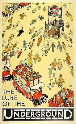 The Lure Of The Underground Vintage London Transport Poster Art Re-Print A3 A4