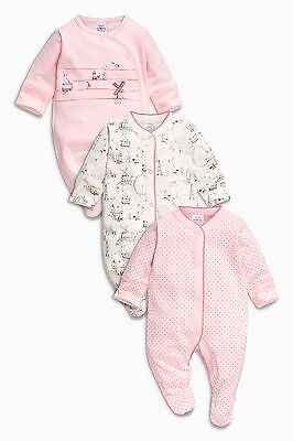 ВNWT NEXT Baby Playsuits Outfit • Windmill Sleepsuit 3pk • 100% Cotton • 0-3 Mon