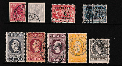 Netherlands 1907-26 fine used selection including 1913 Independence high values