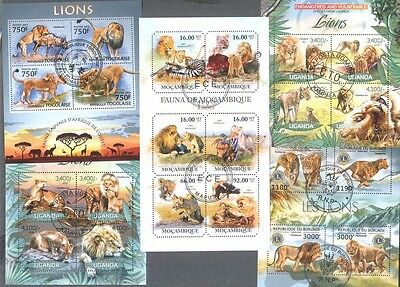 Lions -25 all different stamp collection-Wild animals