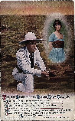 Bamforth song postcard, Till The Sands Of The Desert Grow Cold (1), unposted