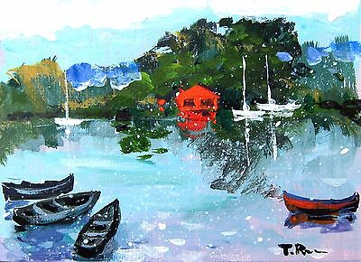 ACEO Original watercolor painting LANDSCAPE nature boats art card gift Tania