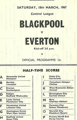 football programme:  Blackpool Reserves v Everton Reserves 1966/67