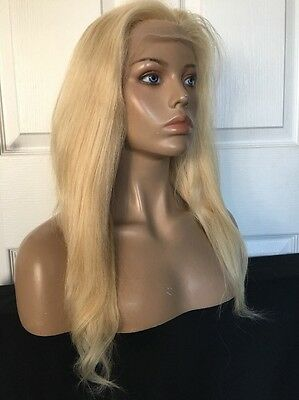 """18"""" Glueless Remy Human Hair Medium Blonde Front Lace Silky Straight Full Wig"""