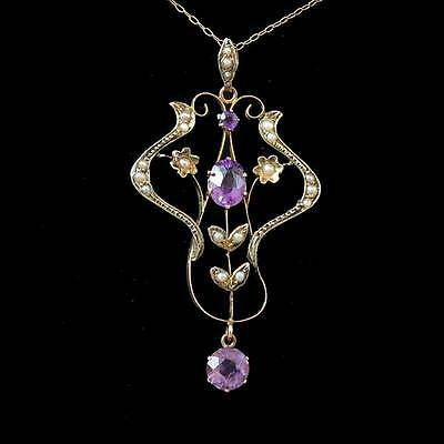 9ct gold Art Nouveau amethest and seed pearl pendant