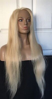 """30"""" Glueless Remy Human Hair Medium Blonde Front Lace Silky Straight Full Wig"""