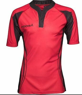 BNWT Red Youth Sized Kooga Tight Fit Curve Shirt Rugby Black RRP £34.99