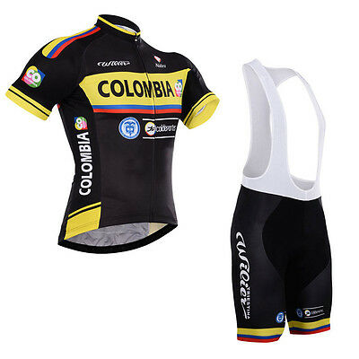 New Mens Riding Short Sleeve Tops Cycling Jerseys Bib Shorts Sets Uniforms Black
