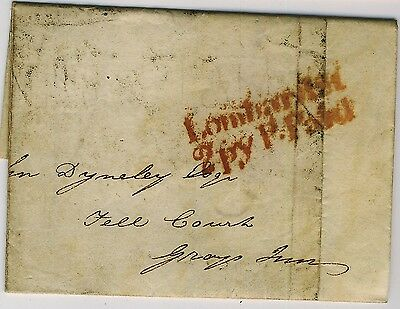 GB 1826 wrapper to Grays Inn with Lombard Street London 2d post in red