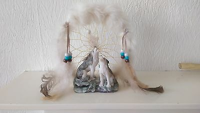 Dream Catcher on Stand with 2 Wolves