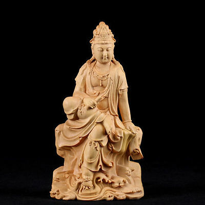 Chinese handcraft Wood carving Boxwood wooden Kwan yin statue Buddhism