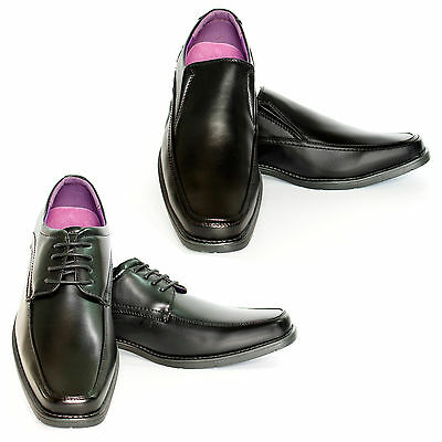 Mens  Casual Boys Black Leather Smart Dress Formal Lace Up Shoes UK SIZE Slip on
