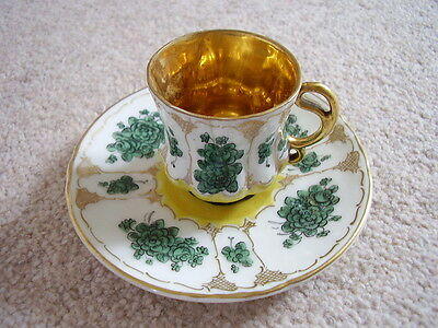 Antique Bavaria-Dresden Germany Porcelain cabinet cup and saucer,highly gilt