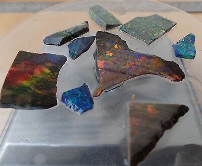 bulk lot treated Andamooka opal slices lapidary doublets etc collection TB331