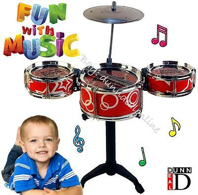 Childs Kids My First 1st Drum Kit Play Set Drums Cymbal Musical Toy Instrument