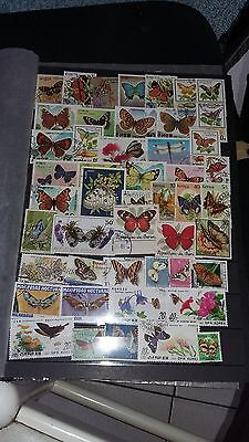 50 timbres Papillons (lot3)