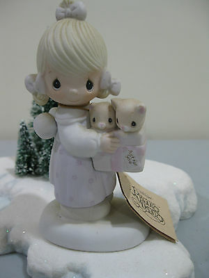 Vintage Precious Moments VALENTINE Figurine To Thee With Love Girl & Cats