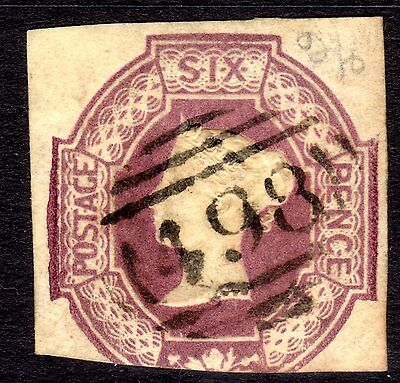 (5) VERY GOOD LIGHTLY USED SQUARE CUT SG60 QV 6d PURPLE EMBOSSED